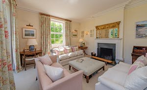 Asham House - A very elegant drawing room with views over the garden