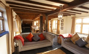 Plush velvet sofas to curl up on; have a chat, watch the flames flickering in the wood-burner