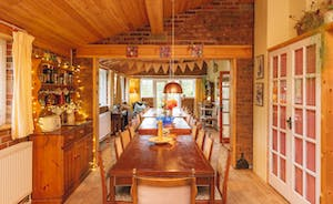 Characterful kitchen through to fabulous dining room.