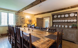 Dining room with Inglenook Fireplace and log burner for dinner parties and family lunches!