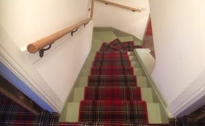 tartan carpet on stair