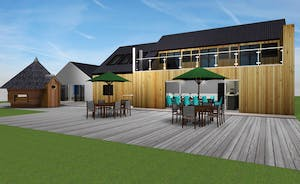 Shires - This image shows how things will look from the back of the house; a big patio, with plenty of garden furniture, and note the BBQ lodge