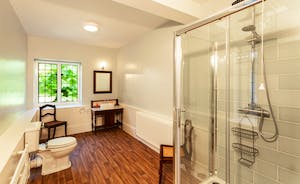 Bossington Hall - En suite shower room for the Greenaleigh bedroom: plenty of room and plenty of modern convenience