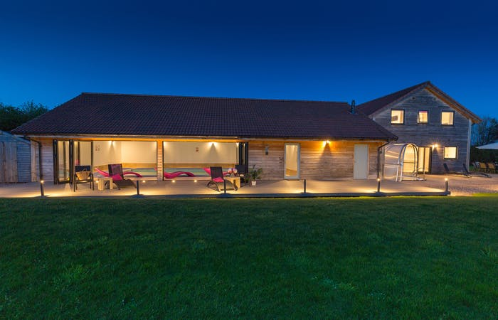 Ham Bottom Holiday Lodge in Somerset sleeps 12 with indoor pool, hot tub, sauna, games room and bbq lodge set in 2 acres