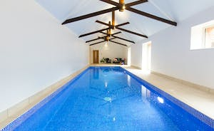 Pound Farm - Original roof beams in the private swimming pool