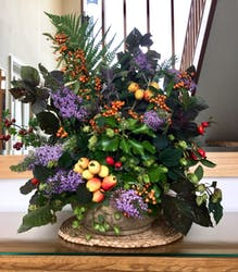 Glorious hedgerow finds making a beautiful flower arrangement for TCB's hall.
