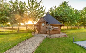 Fuzzy Orchard - The Nordic style BBQ lodge has a backdrop of fields; a lovely private setting