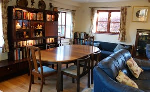 Lounge & dining room to seat 8+. Woodburner, TV & Sky+ with double futon to sleep extra 2