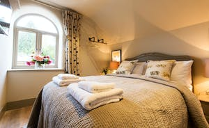 Luxury White Company bedding and views overlooking the Somerset countryside