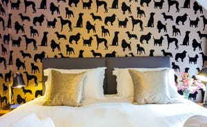Dancing Hill  - Bedroom 3: We love the velvety doggy wallpaper!
