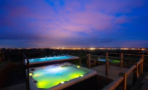 Dancing Hill  - Relax in the hot tub, with the distant glow of  lights on the horizon