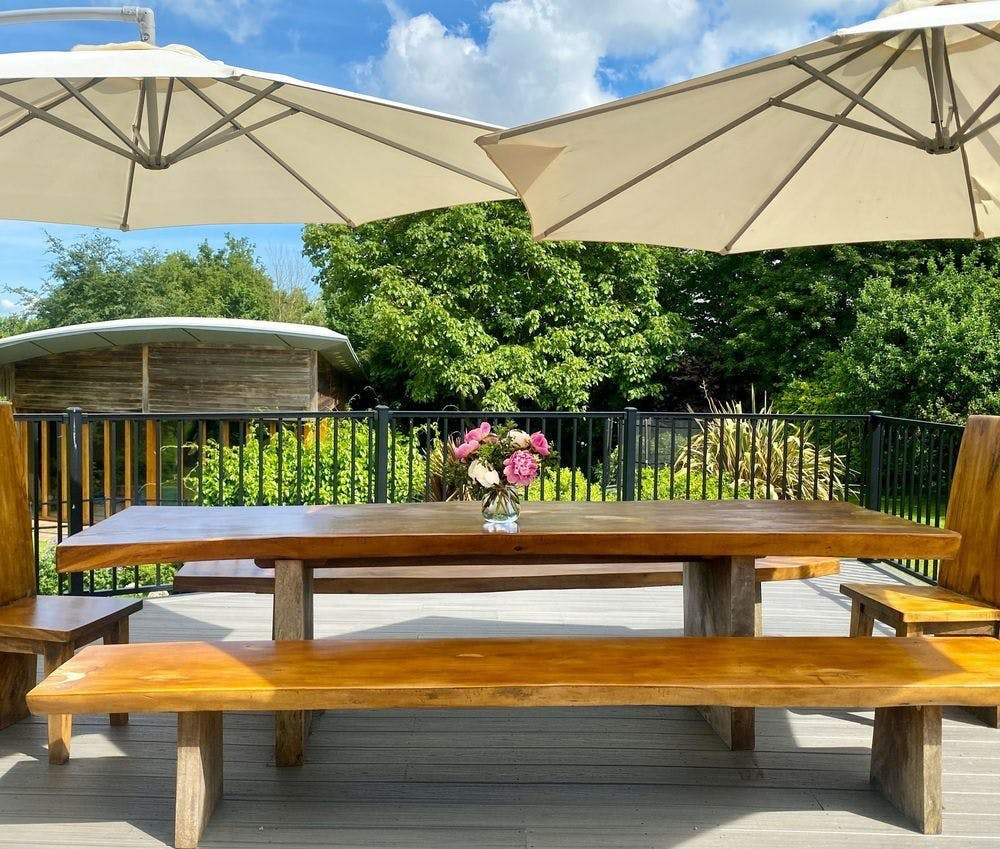 Ample space for outside dining with views across the garden