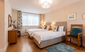 Ground floor bedroom, accessible to all. Can be a super king or twin beds. 2 additional single beds can be added.
