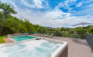 The Benches - Enjoy the far reaching views from the hot tub and pool