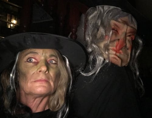 Jacquie and Steve Willoughby waiting for someone to knock on the door at Halloween