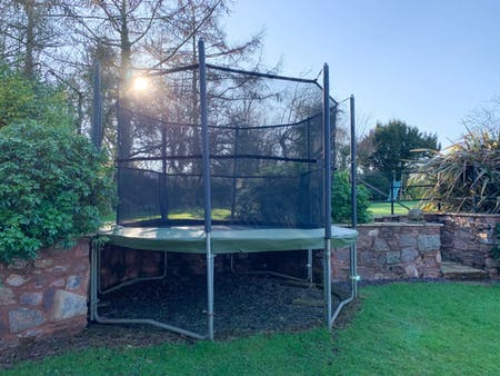TCB's trampoline with new safety pads and netting