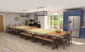 Croftview - The open plan living space has a huge dining table - perfect for big happy celebration feasts